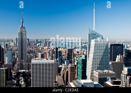 Manhattan skyline with Bank of America Tower and Empire State Building  seen from Rockefeller Center Top of The - Stock Photo