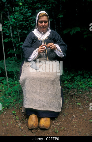 1, one, Canadian woman, Canadian woman wearing period costume, Acadian Historical Village, near town of Caraquet, - Stock Photo