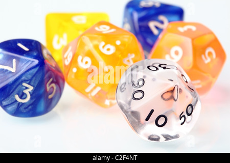 Dice set for board game on a white background - Stock Photo