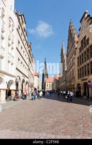 Prinzipalmarkt, main square of Munster, Westfalia, with St Lamberti church at the end - Stock Photo
