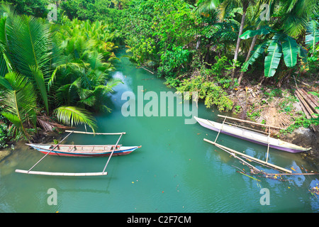 Traditional Philippine boat. Beautiful river. Philippines - Stock Photo