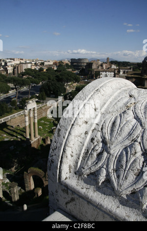 panorama view from top of the re king vittorio emanuele vittoriano altare della patria monument, rome,italy - Stock Photo