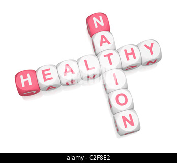 Healthy Nation crossword on white background - Stock Photo