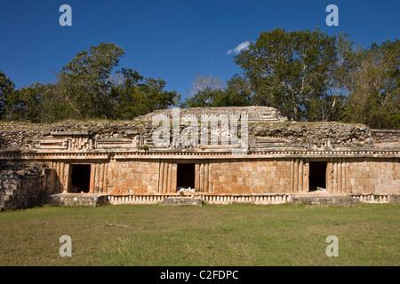 Doorways into The Palace (El Palacio) at the Maya ruins of Labna along the Puuc Route in the Yucatan Peninsula, - Stock Photo