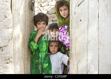 Children who lost their mother and two siblings, Kanam, Afghanistan - Stock Photo