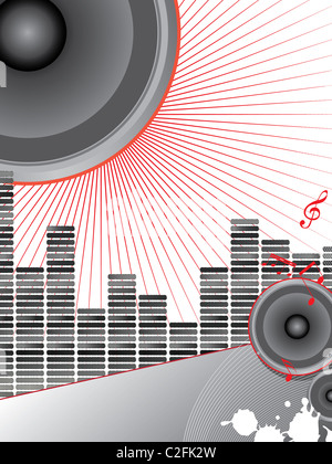 illustration of musical theme with loudspeakers and music notes - Stock Photo