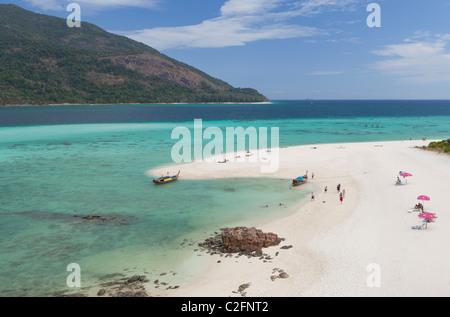 White strip of sand on Ko Lipe,Thailand - Stock Photo