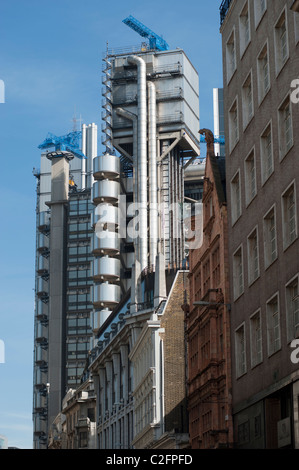 The Lloyds Building, home of Lloyds Insurance, London, as seen from Cornhill in  London's financial district. London, - Stock Photo