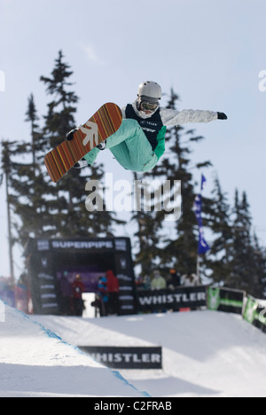 Snowboard halfpipe competition at the Telus World Ski and Snowboard Festival held in Whistler, BC, Canada every - Stock Photo
