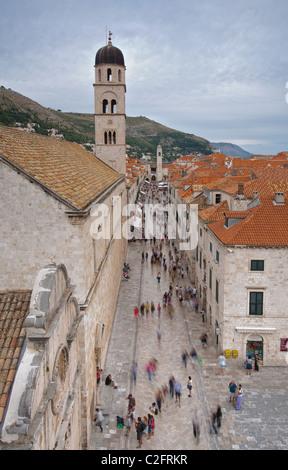 Famous street Stradun in the old city of Dubrovnik, Dalmatia, Croatia - Stock Photo