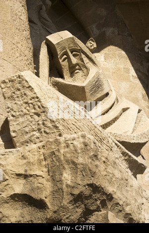 A detailed close up about one of the many statues of Sagrada Familia church in Barcelona, the world famous Gaudì's - Stock Photo