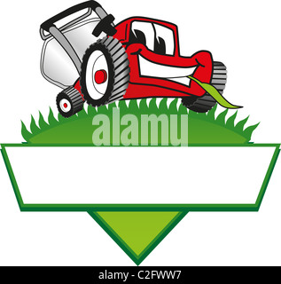 Cartoon Lawn Mower Logo Template