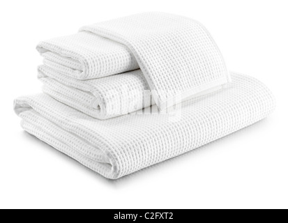 stack of white waffle towels - Stock Photo