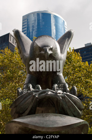 Battery Park East Coast WWII Memorial Eagle Statue - NYC - Stock Photo
