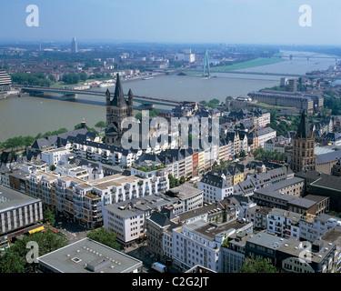 Panoramablick ueber die Koelner Altstadt, Kirche Gross St. Martin, Alter Markt, historisches Rathaus, dahinter der - Stock Photo