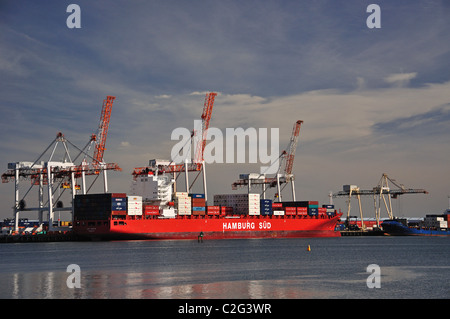 Container ship loading in Port of Tauranga from Mount Maunganui, Tauranga, Bay of Plenty Region, North Island, New - Stock Photo