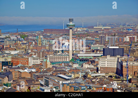 Aerial view of Liverpool city centre from Anglican cathedral tower with the St. John's beacon in the centre. - Stock Photo