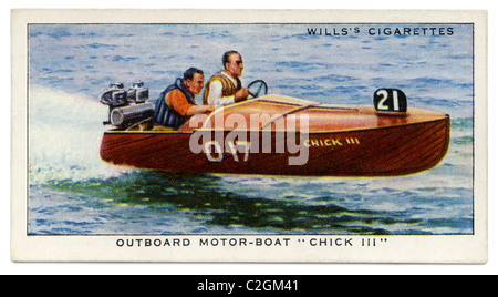 Outboard motor-boat 'Chick III' driven by H. C. Notley - this small craft held many records in the 1930s - Stock Photo