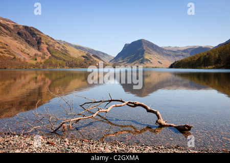 Scenic view to Fleetwith Pike mountain reflected in Buttermere Lake in the English Lake District National Park, Buttermere Cumbria England UK Britain