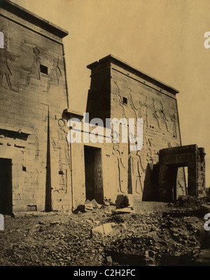 Temple of Isis on the Island of Philae, Egypt - Stock Photo