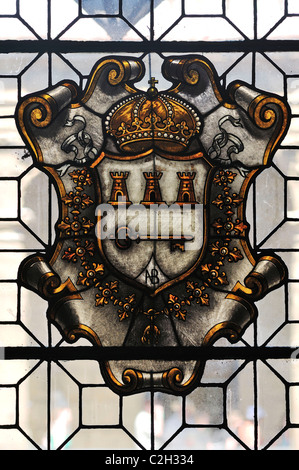 Havana. Cuba. Seal of Havana showing 3 fortresses & a key in stained glass in the Museo de la Ciudad, Habana Vieja - Stock Photo