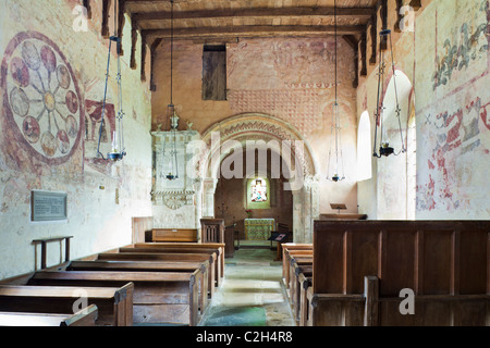 14th century tempera wall paintings in the nave of St Marys church, Kempley, Gloucestershire, England, UK - Stock Photo