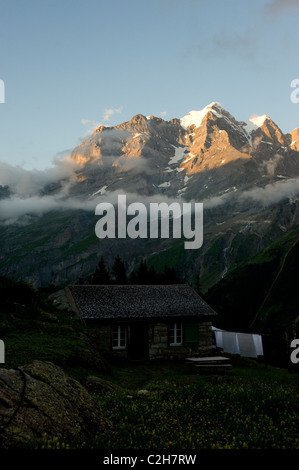 An alpine pasture in front of the Jungfrau mountain, Lauterbrunnental, Switzerland - Stock Photo