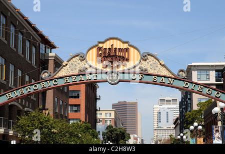 Entrance sign to San Diego's historic Gaslamp Quarter. - Stock Photo