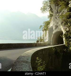 Road between Porto di Tremosine and Pieve di Tremosine, Tremosine, Italy - Stock Photo
