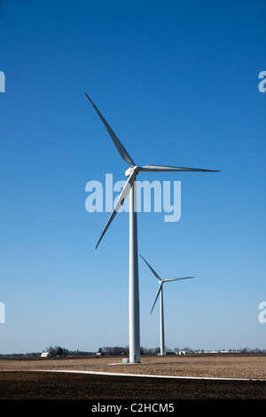 Wind Turbines on farmland Indiana USA - Stock Photo
