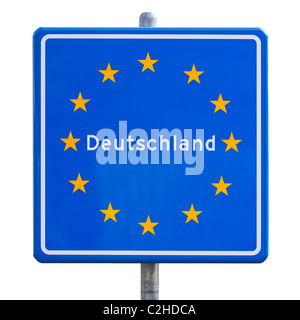 EU European Union border sign for Germany, Deutschland. German border road sign, roadsign cut out cutout. Europe - Stock Photo