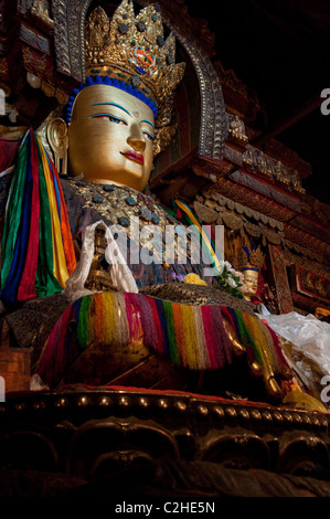 Gold Statue of Buddha in Gyantse Kumbum - Stock Photo