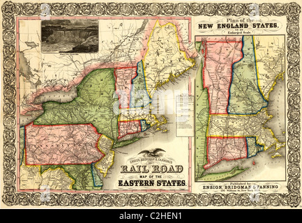 RAILWAY MAP OF THE NEW ENGLAND STATES USA BAEDEKER Stock - Map of the eastern states