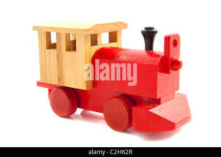 Train made of wood isolated over white - Stock Photo