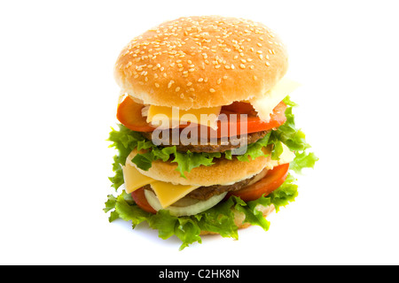 Double hamburger with cheese isolated over white - Stock Photo