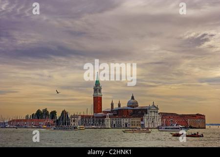 View over the Canale Grande on San Giorgio Di Maggiore, Venice, Italy, Europe - Stock Photo