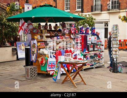 Display of souvenirs,memorabilia and gifts of England and London on a street stall in Windsor, Berkshire, England, - Stock Photo