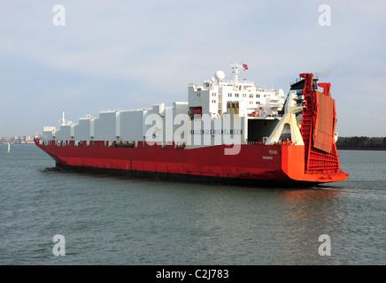 Th eunusual lines of Wallenius Wilhelmsen's bulk cargo ship Texas, registered in Tonsberg, Norway. Photographed - Stock Photo