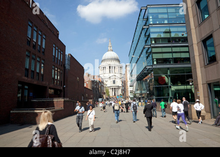 St Paul's Cathedral seen from Peter's Hill, London - Stock Photo