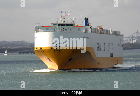 Italian cargo ship Grande Roma. Grimaldi lines. Photographed in Southampton Water, England. April 2011. - Stock Photo