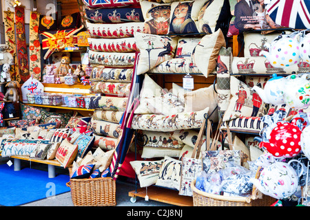 Display of souvenirs,memorabilia and gifts of England on an indoor market stall in Windsor, Berkshire, England, - Stock Photo