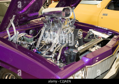 Massive supercharged V8 engine in an Australian show car. - Stock Photo