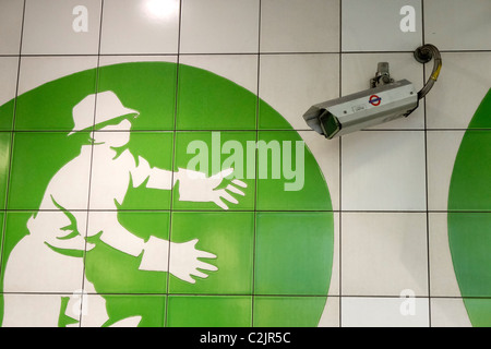 CCTV security camera at Oval underground tube station in London, England, UK - Stock Photo