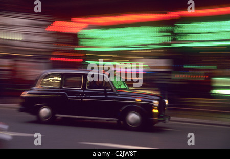 London taxi cab at Piccadilly Square - Stock Photo