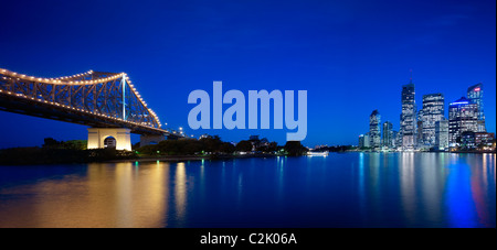 Brisbane city & Story Bridge at night - Stock Photo