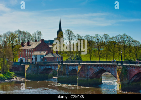 The Old Dee Bridge over the River Dee at Chester - Stock Photo