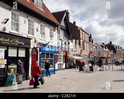 Wednesday Market a pedestrianised shopping area in the historic town of Beverley East Yorkshire - Stock Photo