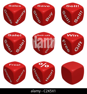 Red Dice Collection with words devoted to Retail - Stock Photo