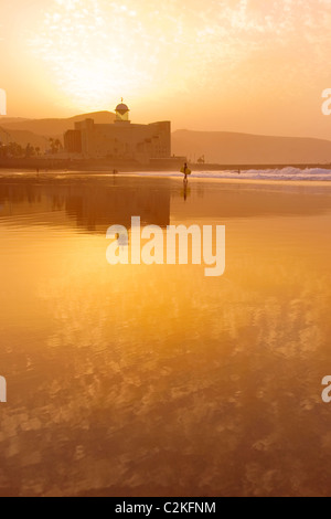 Sunset on Las Canteras beach in Gran Canaria - Stock Photo
