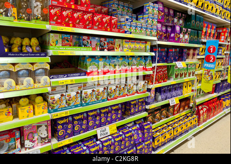 Easter eggs and chocolate for sale in an australian supermarket a selection of chocolate easter eggs in a tesco supermarket in the uk stock photo negle Image collections